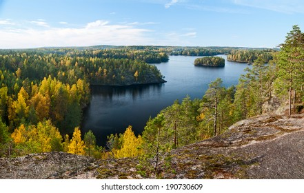 Top view of the lake Repovesi (Finland, South Karelia)