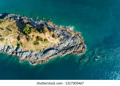 Top view landscape of Beautiful tropical sea with Sea coast view in summer season image by Aerial view drone shot, high angle view.