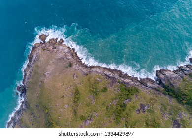 Top view landscape nature scenery view of Beautiful tropical sea with Sea coast view in summer season image by Aerial view drone shot