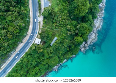 Top view landscape of tropical sea with Seafront road image by Aerial view drone shot