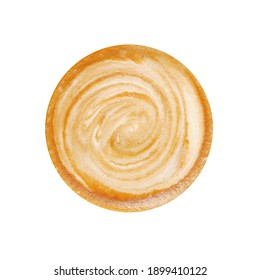 top view of latte art isolated on white.
