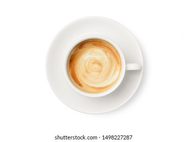Top view of latte coffee in white cup  isolated on white background. Cllipping path.