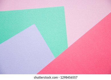 top view layout of a blank piece of paper colorful greeting card background with copy space. Pattern the concept of minimal geometry.