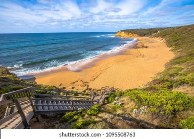 Top view of the legendary Bells Beach - the beach of the cult film Point Break, near Torquay, gateway to the Surf Coast of Victoria, Australia, here began the famous  Great Ocean Road.