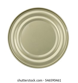 Top view of a lid or Base of Food Tin Can isolated