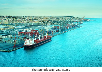 Top view of Lisbon Industrial port at sunset. Portugal