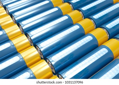 Top view lithium cell batteries on the conveyor production. 3D render storage of shiny rechargeable accumulators.