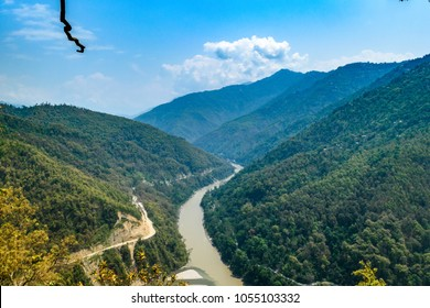 Top view of lovers point where the river coming from left is Rangeet and meeting Teesta which is coming straight down.