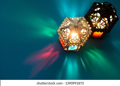 Top view low light static footage of Moroccan lantern.