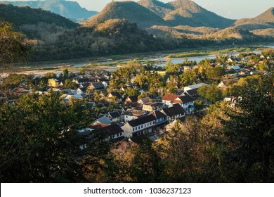 Top view of Luang Prabang city before sunset it so beautiful