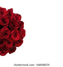 Top view of luxury bouquet of red roses top view with red bow. On Valentine's day holiday. Isolated on white background.