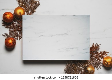 Top view of luxury marble christmas. Mock up for adding text,copy space.