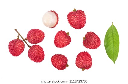 Top view of lychee isolated on white background