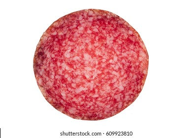 top view macro detail of smoked salami sausage slice texture isolated on white background