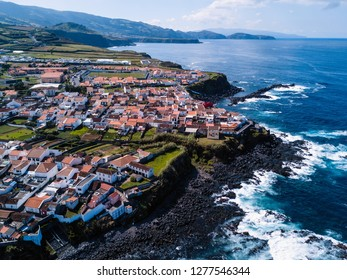 Top view of the Maia city on San Miguel island, Azores, Portugal.