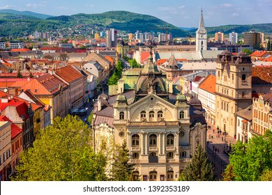 Top view of Main street (Hlavna ulica) of Kosice Old city from St. Elisabeth Cathedral, with State theatre Košice (Statne divadlo) and medieval architecture, Slovakia (Slovensko)