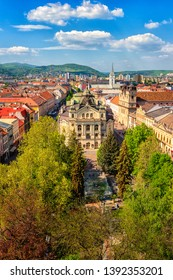Top view of Main street (Hlavna ulica) of Kosice Old city from St. Elisabeth Cathedral, with State theatre Košice (Statne divadlo) and medieval architecture, Slovakia (Slovensko), vertical image