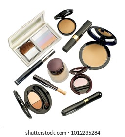 Top view of makeup and cosmetic set against white background