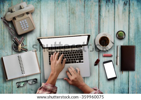 Genial Top View Of Male Hipster Hands Working With Laptop ,office Supplies And  Gadgets On Vintage