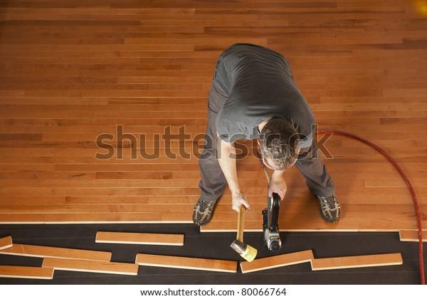 Top View Man Installing Planks Hardwood Stock Edit Now