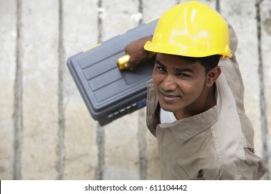 Top view of man wearing construction hat