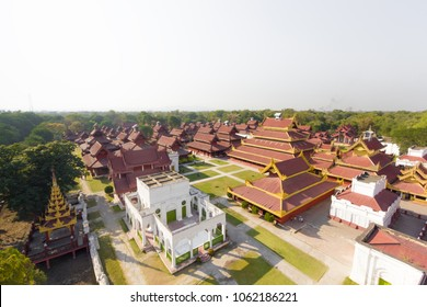 Top view of the Mandalay Palace built in 1875 by the King Mindon as seen from the watchtower, Mandalay, Myanmar