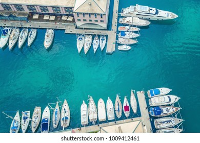 Top view of the marina of Genoa, Italy