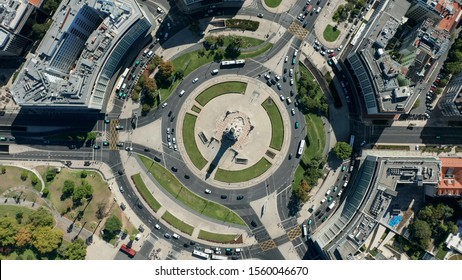 Top View of Marques de Pombal Square, Lisbon, Portugal.