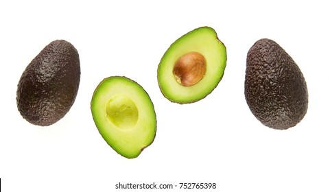 Top view of Mature avocado isolated on white background.