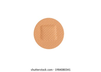 Top view medical plaster isolated on a white background. Medical sticking patch isolated on white. First aid item. Adhesive bandage plaster
