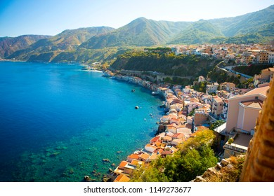 Top view of mediterranean old town Scilla, Calabria, Italy with beautiful beach
