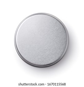 Top view of metal round container isolated on white