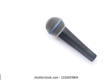 Top view of Microphone isolated on white background. Close up. Music.