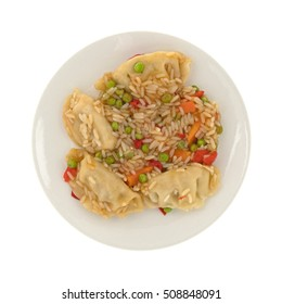 Top view of a microwaved vegetarian potstickers meal on a plate isolated on a white background.