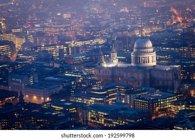 Top view, Millennium bridge and St. Paul's cathedral, London city
