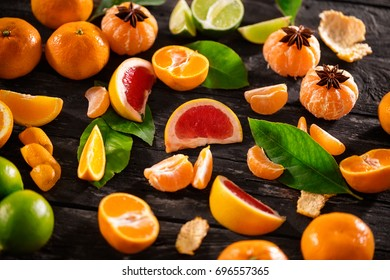 top view of mix of citrus fruits background