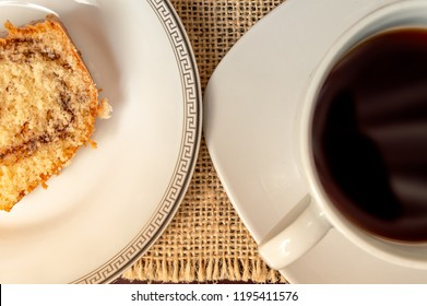 Top view of a mixed cake and coffee