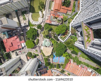 Top view of mixed type of housing at Tanjong Pagar district.