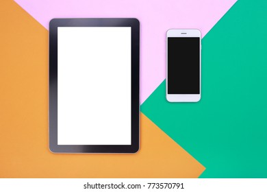 Top view mockup tablet and smartphone on pastel background