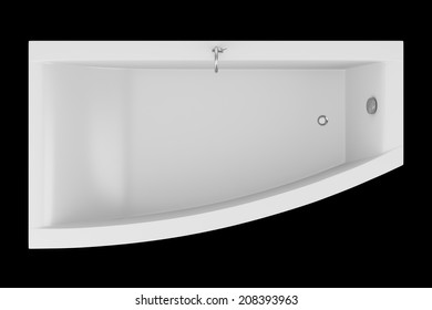 top view of modern bathtub isolated on black background