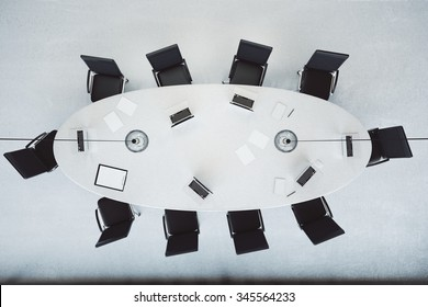 Top view of modern conference room with oval table 3D Render