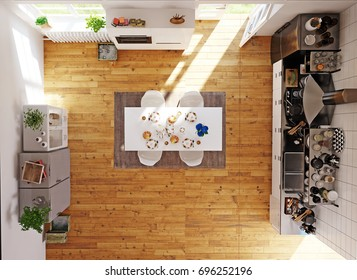 Top view of the modern kitchen room. 3d concept rendering