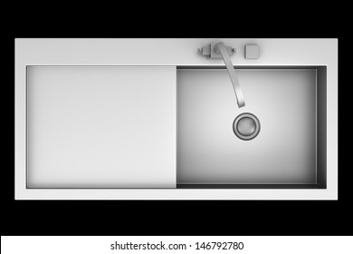 top view of modern metal sink isolated on black background