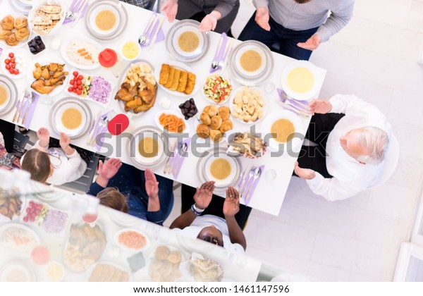 Top View Modern Multiethnic Muslim Family Stock Photo Edit