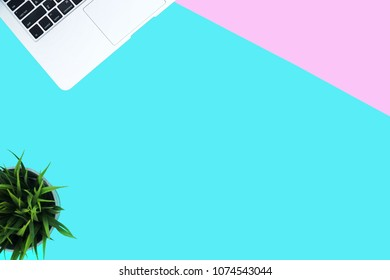 Top view modern office table desk. Workspace with laptop and flower pot on the pastel pink and indigo blue green background.Copy Space empty blank for text,word.Flat lay.Business and interior Concept.