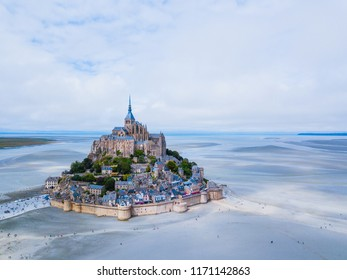 Top view of the Mont Saint Michel Bay, Normandy France. Aerial drone bird's eye view photo.