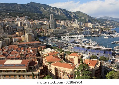 Top view of the Monte Carlo harbour in Monaco.