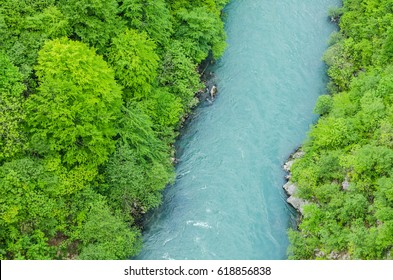 Top view of a mountain river