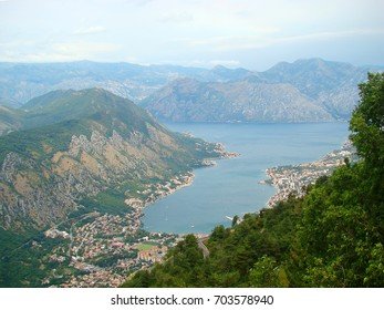 Top view of mountains and sea bay in Kotor, Montenegro