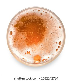 top view of mug of lager beer isolated on white background